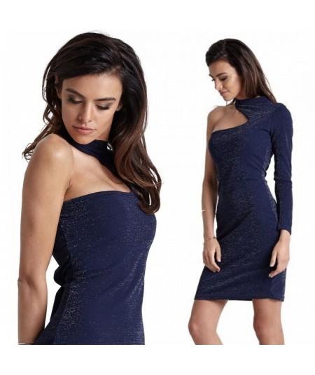 Dopasowana sukienka na jedno ramię - długi rekaw, sukienka na imprezę
