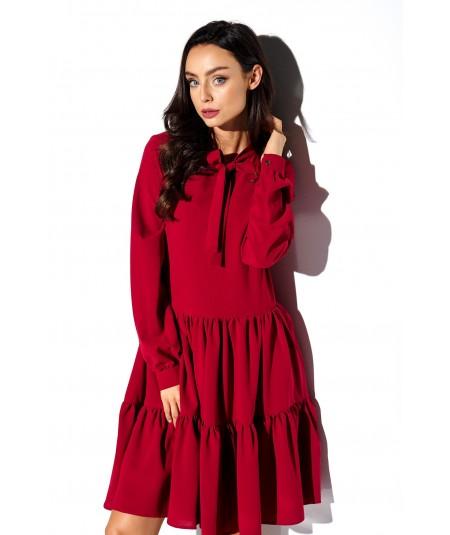bordowa dzienna sukienka lemoniade L319