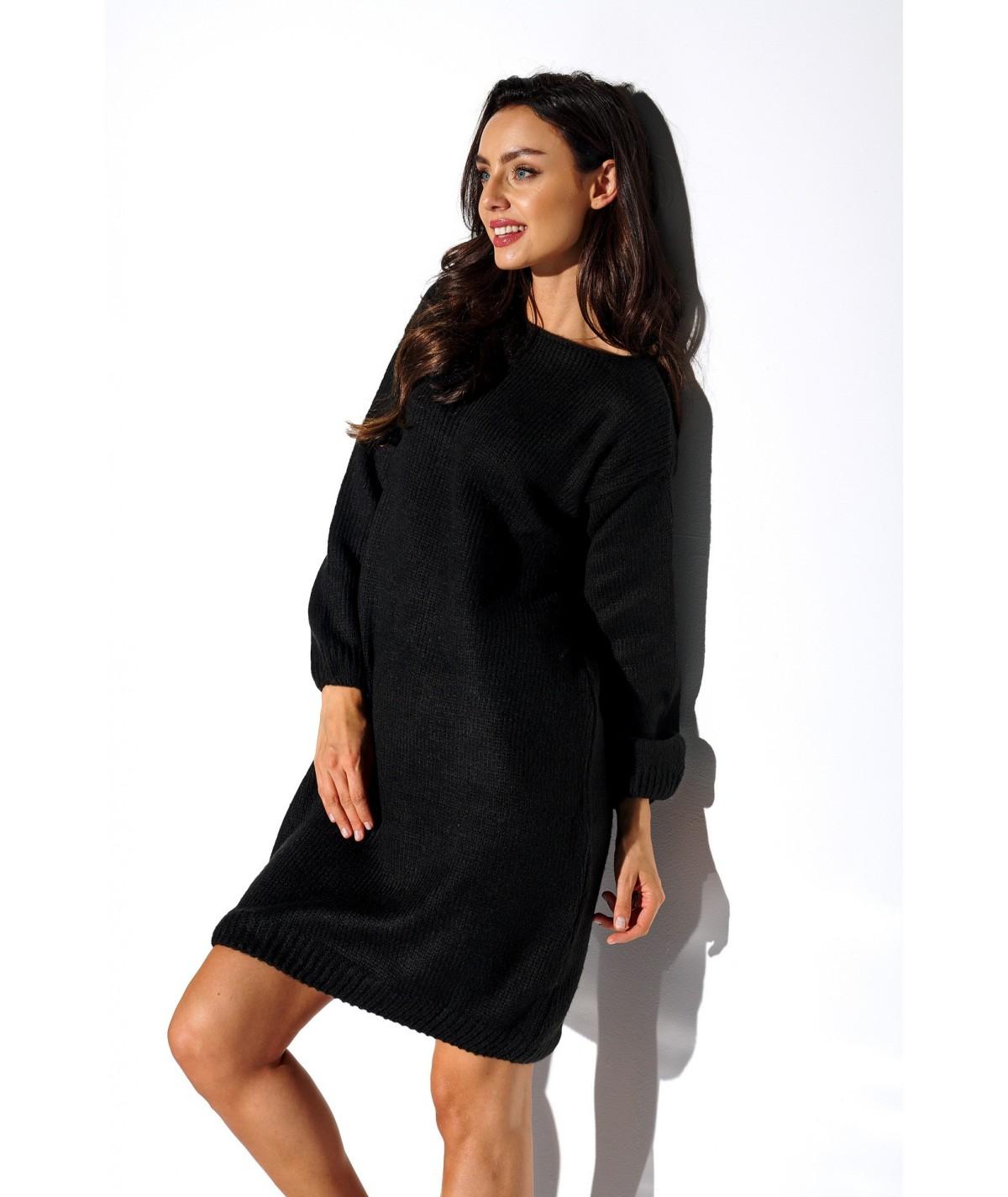 czarna sweterkowa sukienka LSG117 lemoniade