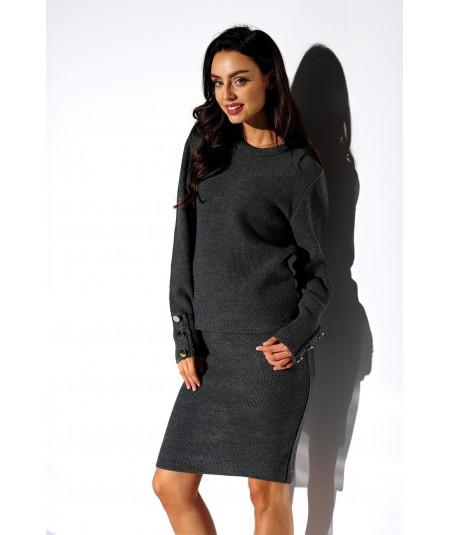 Grafitowy elegancki komplet sweter i spódnica