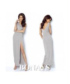szara sukienka maxi z rozcięciem na noge IVON model DALIA
