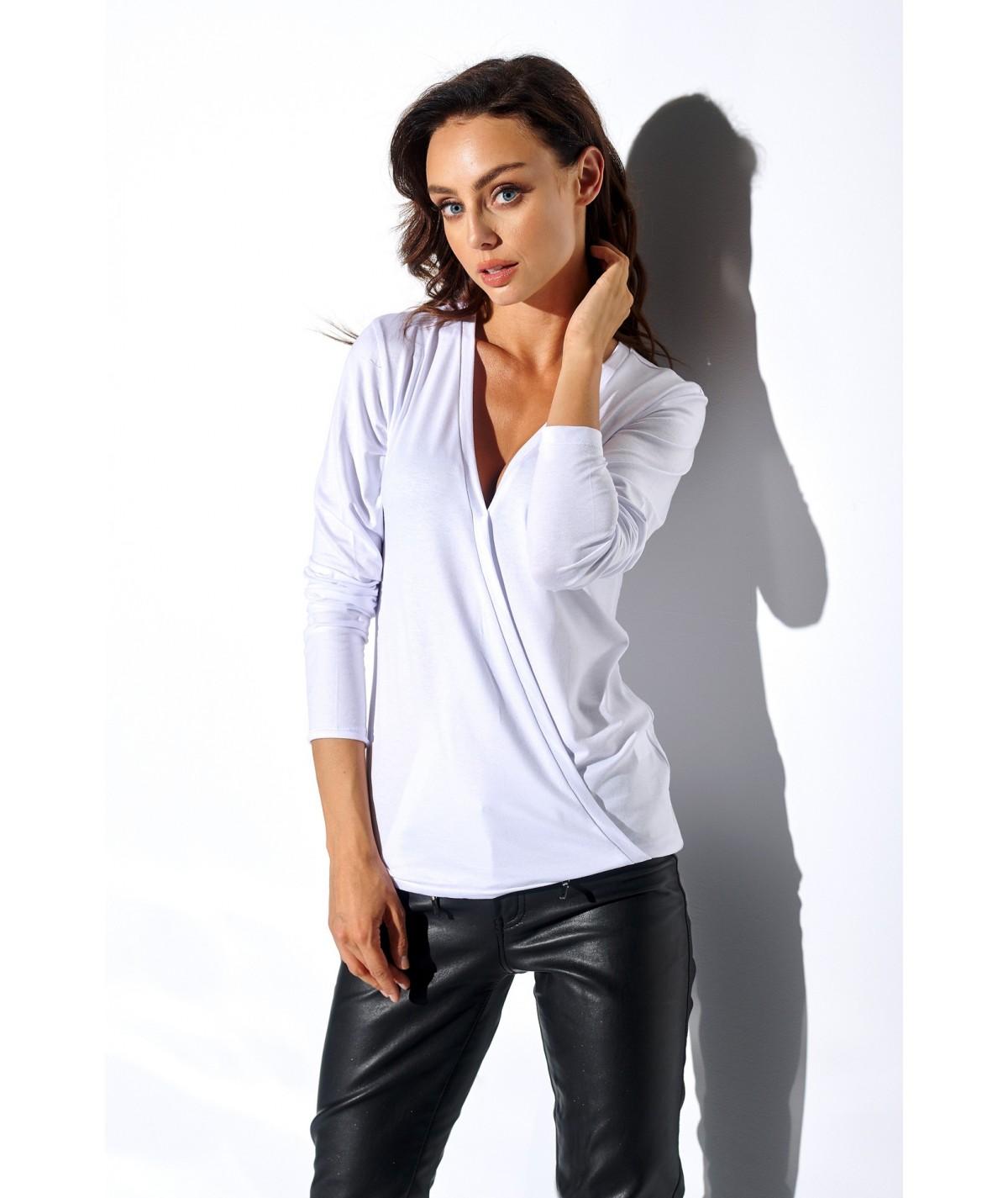 biała kopertowa bluzka lemoniade LN102