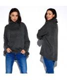 Gładki grafitowy sweter z golfem lemoniade LS274