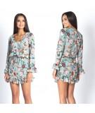 kwiatowa sukienka damska z dekoltem Emi - marki Dursi