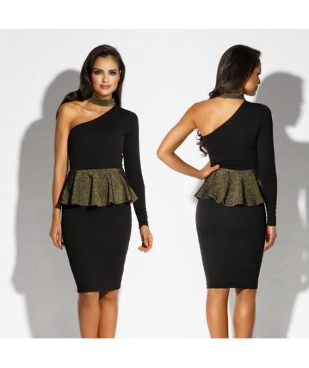 czarna sukienka ze złota baskinką Dursi