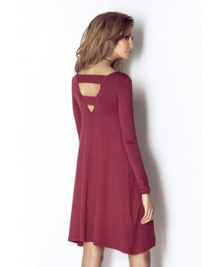 Trapezowa bordowa sukienka z rękawem Celine