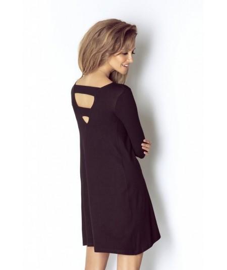 Trapezowa czarna sukienka z rękawem Celin