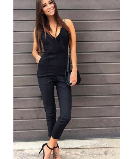 czarny bawełniany elegankci kombinezon ivon