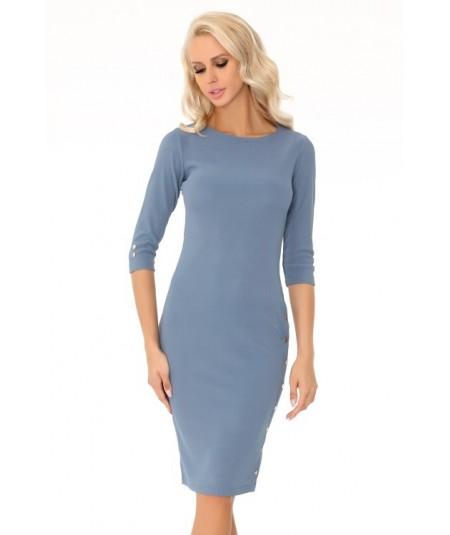 niebieska porsta sukienka z guziczkami merribel