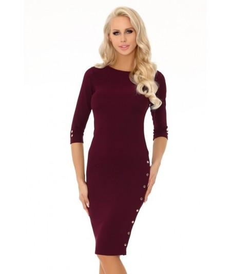 bordowa prosta sukienka merribel