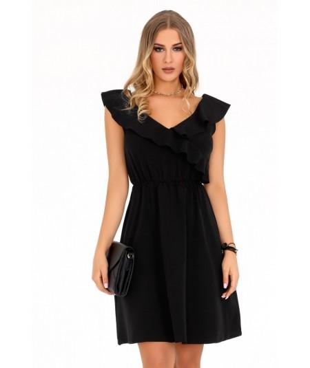 czarna sukienka z falbanką marki merribel