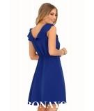 niebieska sukienka z falbanką marki merribel
