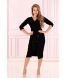 czarna dopasowana sukienka z dekoltem - Merribel