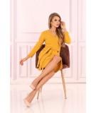 kopertowa sukienka midi żółta z guziczkami merribel
