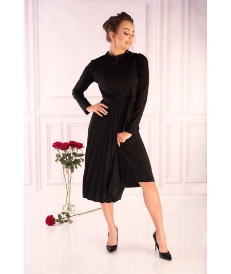 czarna plisowana sukienka midi