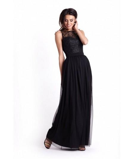 czarna sukienka na wesele, sukienka na studniówkę sisi marki ivon maxi