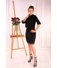 czarna prosta sukienka z guziczkami merribel