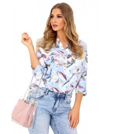 elegancka kolorowa koszula damska bez kołnierzyka merribel
