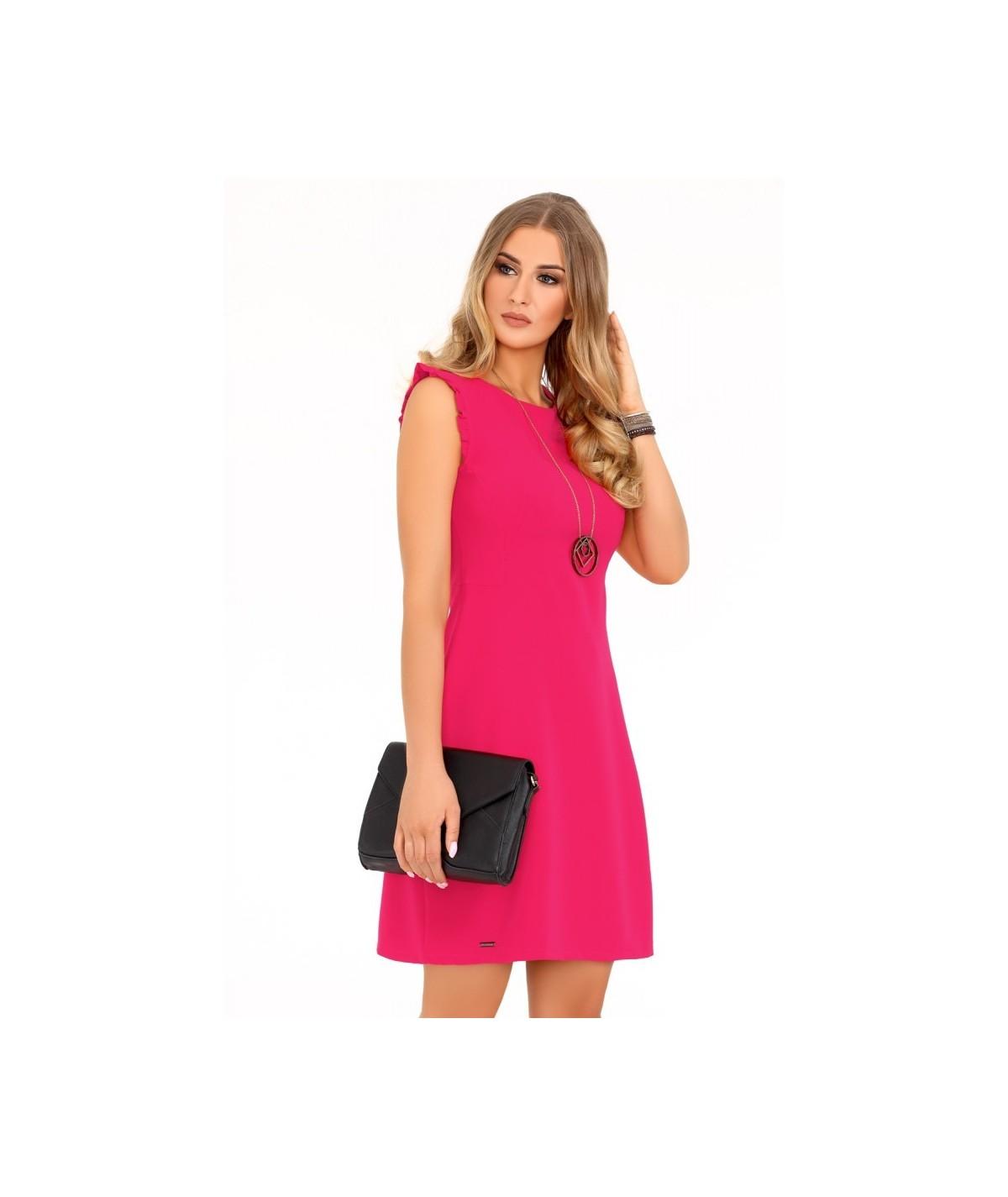 malinowa biznesowa sukienka