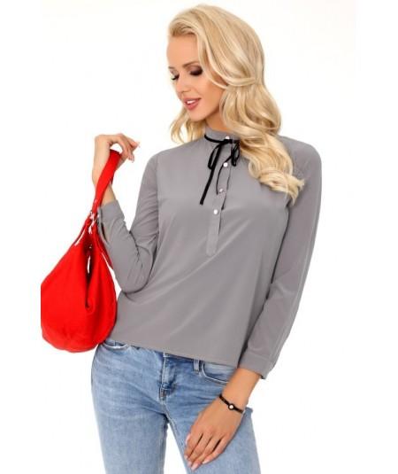 Szara elegancka bluzka z guziczkami i kokardą SEMELE