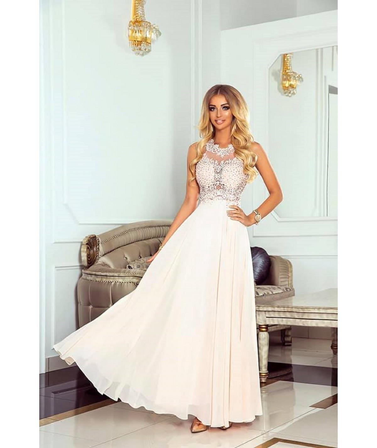 Długa różowa suknia z koronką i tiulem