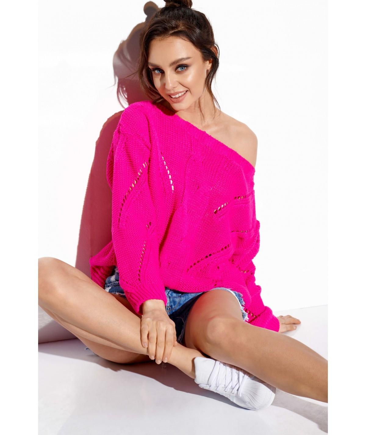 rózowy sweter damski lemoniade LS287