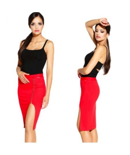 czerwona dopasowana spódniczka Dursi z zamkiem