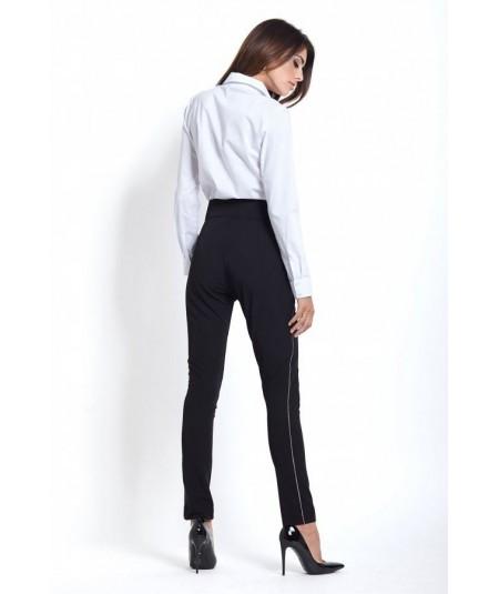 czarne eleganckie spodnie z lampasem i kokarda ivon