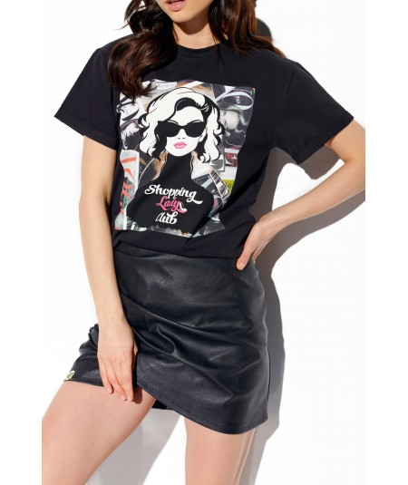 Czarna damska koszulka tpyu t-shirt LADY