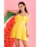 żółta sukienka z falbanką merribel Cooreo