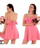 różowa sukienka z falbanką merribel Cooreo