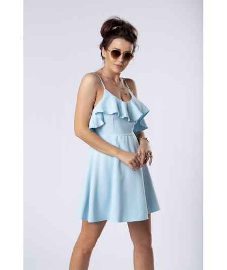 niebieska sukienka z falbanką cooreo merribel
