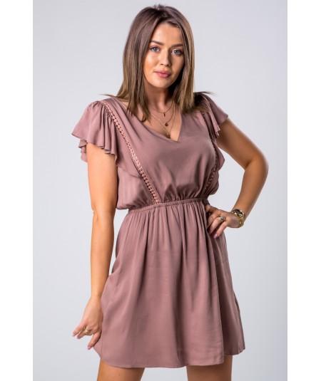 kawowa dzienna sukienka rozkloszowana merribel