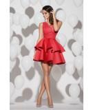 czerwona rozkloszowana sukienka z kremowymi falbankami GRACE