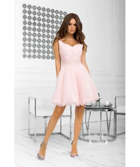 pudrowa sukienka bombka Bicotone 2214