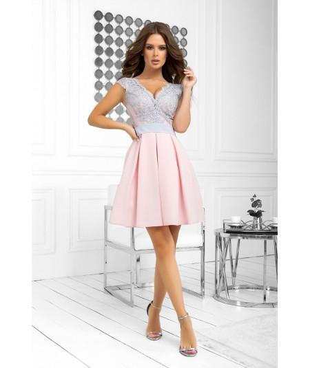 Różowa sukienka na wesele - Bicotone 2139