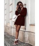 bordowa dzienna sukienka z dekoltem jesień