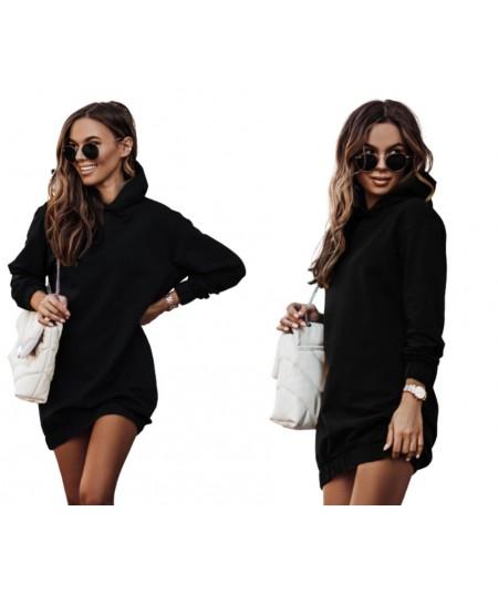 czarna dresowa sukienka z kapturem IVON