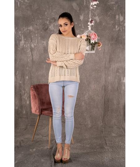 Ażurowy beżowy sweter damski ETSAMAN
