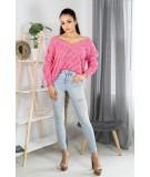 rózowy luźny sweter na jesień merribel