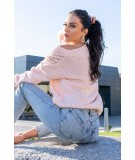 rózowy oversizowy sweter merribel