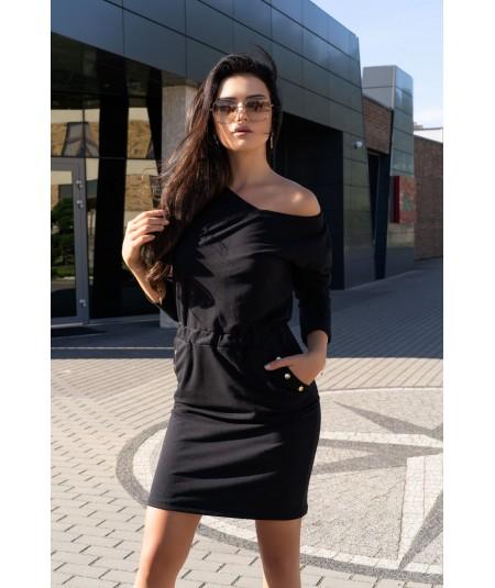 czarna dresowa sukienka z dekoltem w serek merribel
