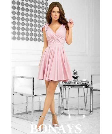 Różowa krótka sukienka z kopertowym dekoltem i kokardami Amber