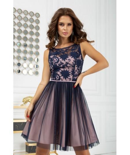 Granatowa tiulowa sukienka z koronką MIA