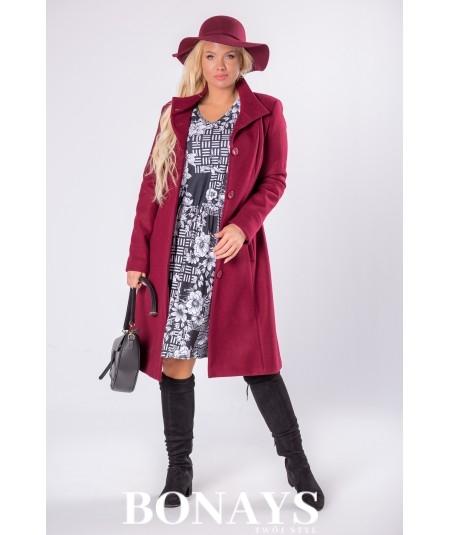 Taliowany czarny płaszcz damski z guziczkami jednorzędowy