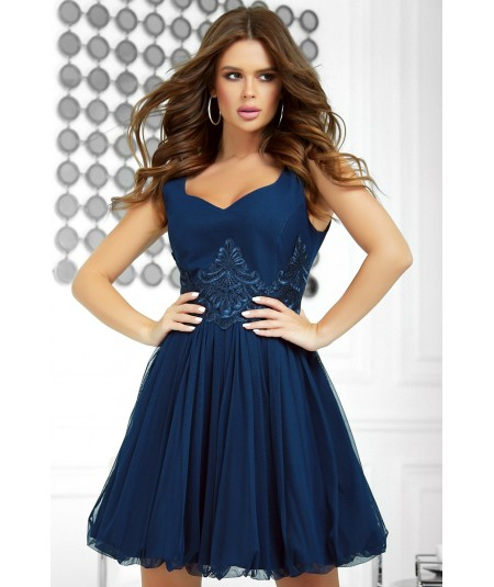 granatowa sukienka z tiulem bicotone 2214