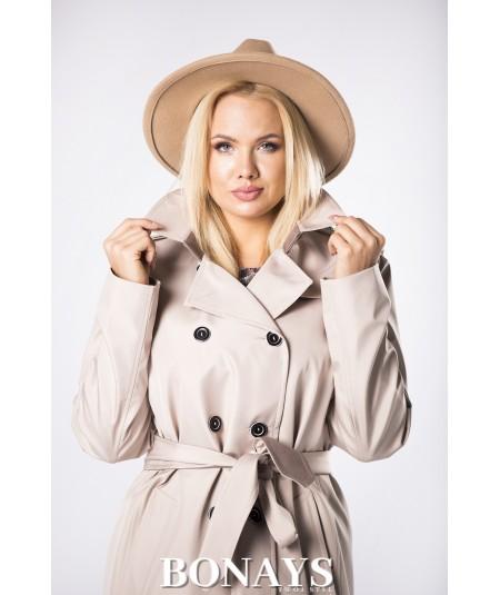 Beżowy dwurzędowy płaszcz damski na jesień
