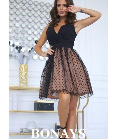czarno-bezowa sukienka bicotone