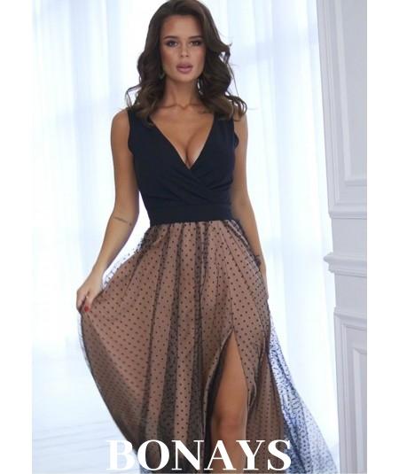 Długa suknia z beżową podszewką Bicotone