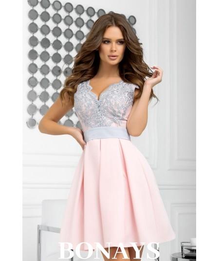 rózowa koronkowa sukienka bicotone 2139